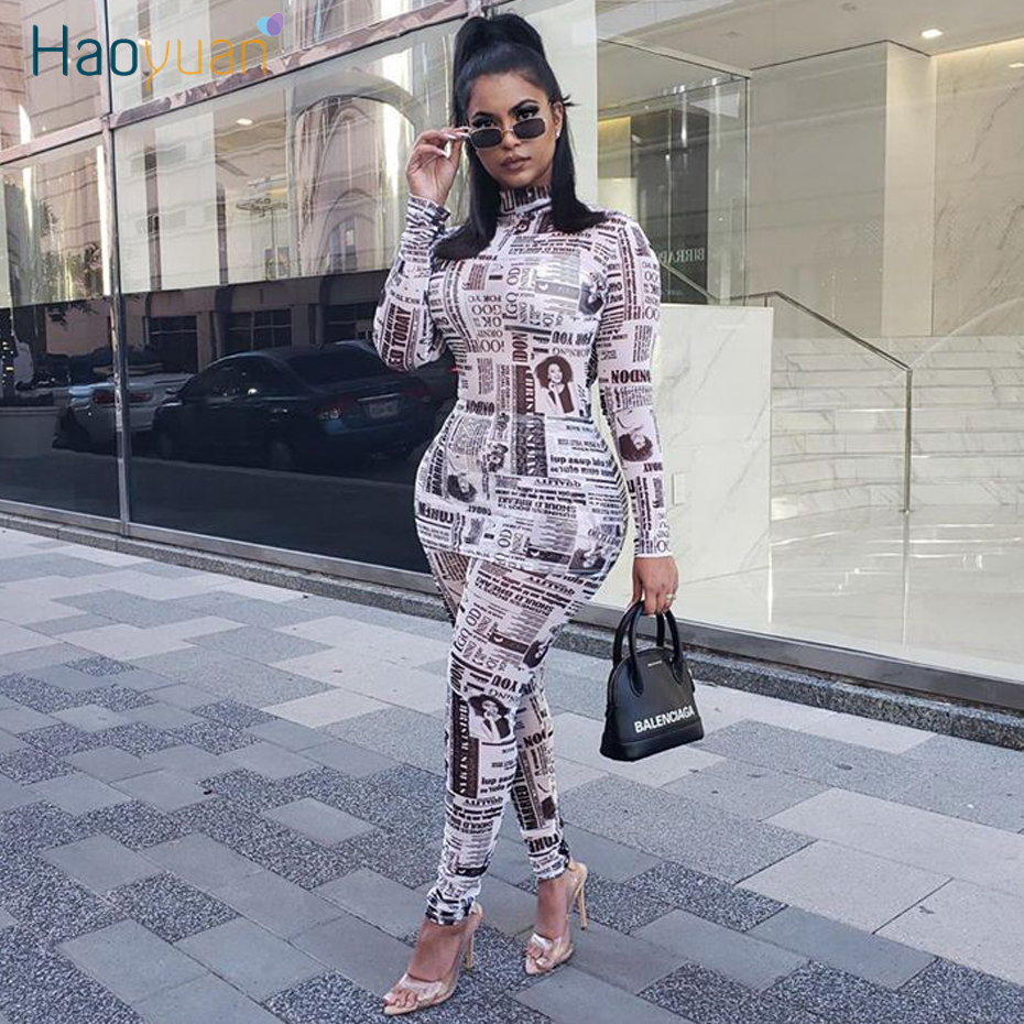 ZOOEFFBB Newspaper Print Two Piece Set Women Tracksuit Autumn Winter matching Clothes Long Top Pant Sweat Suits 2 Piece Outfits