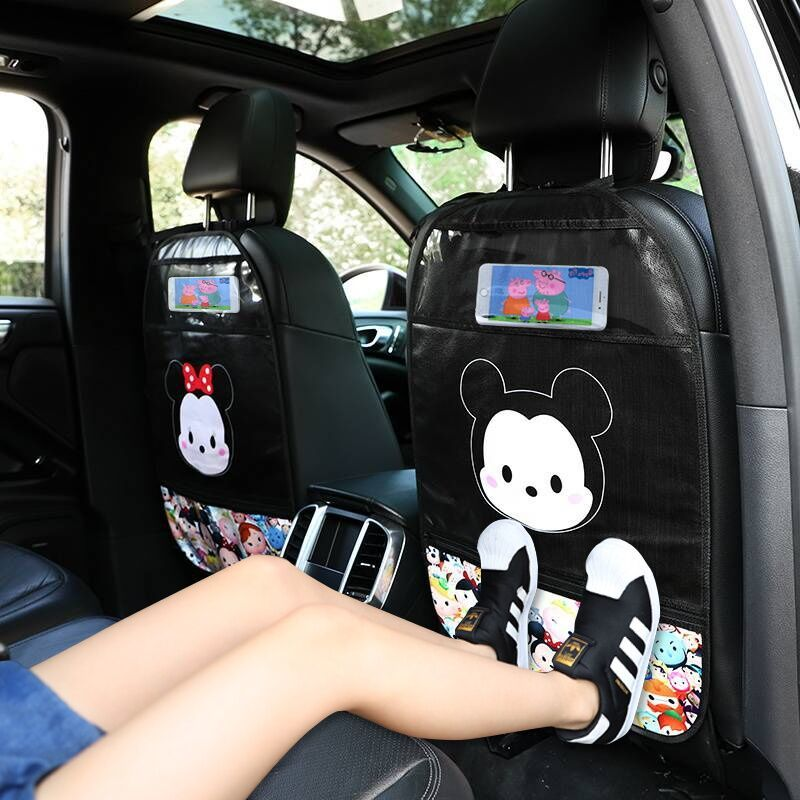 1Pcs Cartoon Car Seat Kid Protector PU Leather Cute Car Seat Back Cover Protector for Kids Children Anti-kick Mat Pad Waterproof