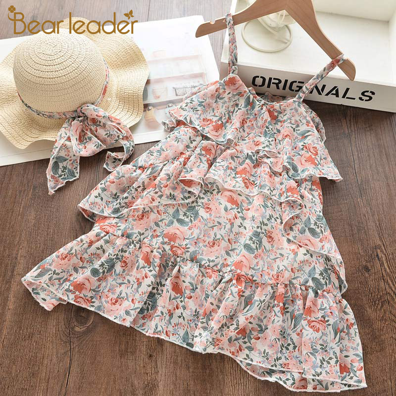 Bear Leader Casual Girls Dresses Summer With Hat 2 Piece Suit Children's Clothes Kids Girls Party Princess Print Dress Vestidos