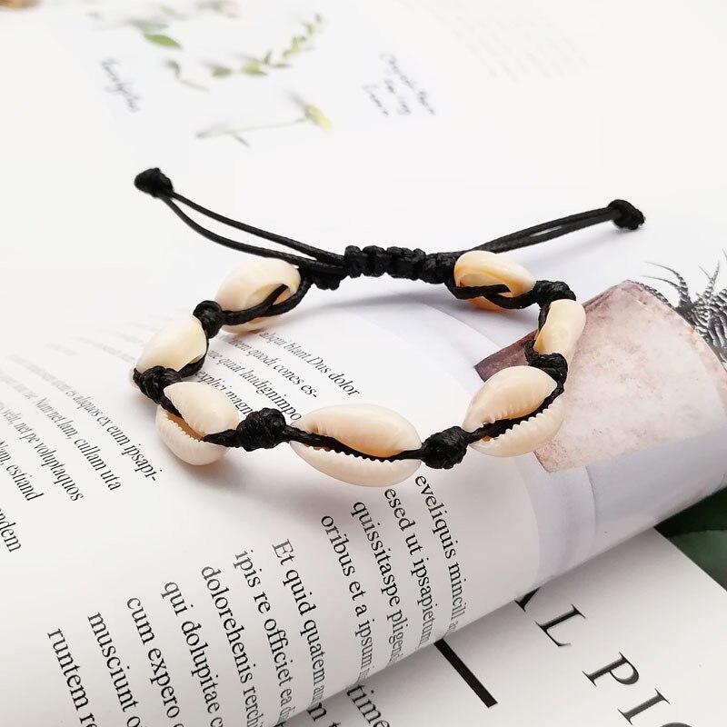 2019 Ins Shell Bracelet for Women Femme Adjustable White Rope Seashell Bracelet Leg Ankle Bracelets Beach Jewelry in Charm Bracelets from Jewelry Accessories