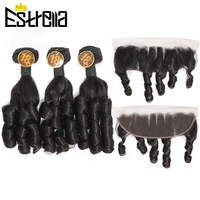 Peruvian Bouncy Curly Hair Bundles with Frontal 3 Bundles Fummi Hair with Frontal Remy Human Hair Weave with Ear to Ear Closure