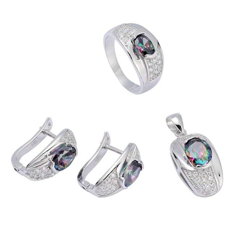 Eulonvan Charm 925 en argent sterling femmes fiançailles ensembles de bijoux de mariage (bague/boucle d'oreille/pendentif) arc-en-ciel zircon cubique S-3719set