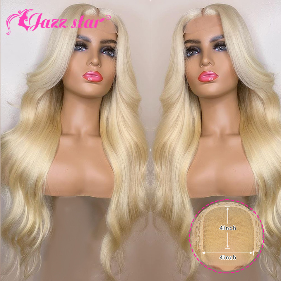 H823913fcd2af4943805d3d249f76d7c17 Brazilian Wig 4x4 Lace Closure Wig 613 Blonde Wig Body Wave Human Hair Wigs for Black Women 150% Density Jazz Star Hair Non-Remy