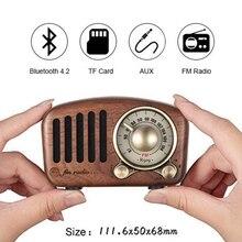 Vintage Radio Retro głośnik Bluetooth orzech drewniane Radio Fm, silny bas wzmocnienie, głośna głośność, karta Bluetooth 4.2 Aux Tf