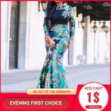 Robe de soirée sirène à paillettes, manches longues, tenue scintillante, grande taille, brillante, femme, africaine, élégante, vert