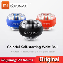 Original Xiaomi Yunmai Wrist ball Trainer LED Gyroball Essential Spinner Gyroscopic Forearm Exerciser Gyro Ball for Mijia home 48lbs strengthen power wrist ball metal forearm muscle training pressure relieve gyro ball gyroscopic force exerciser ball a