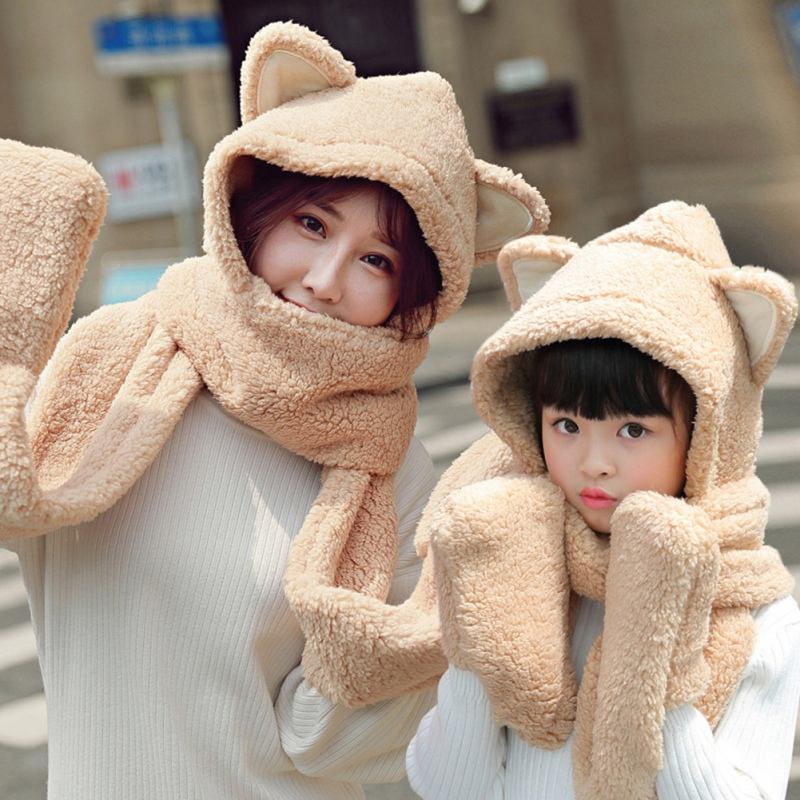 Women Winter Scarf Mom Daughter Sweet Cute Cat Ear Hat Scarf Set Girl Boy Warm Fashion Scarf Hat Gloves Parent-child 3Pcs Set