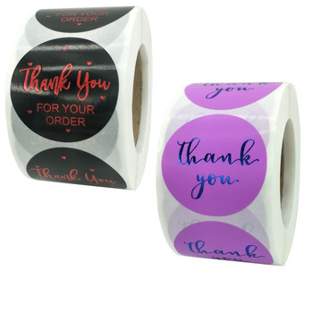 Pretty 1.5Inch/3.8cm Black Purple Bronzing Thank You Label Stickers 500pcs for Baking Decoration Handmade Business Box Packaging pretty reckless pretty reckless who you selling for 2 lp