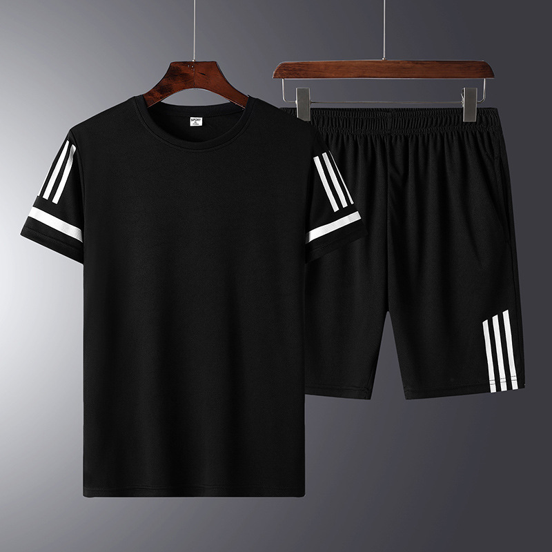 2019 New Style Summer <font><b>Men</b></font> Casual <font><b>Suit</b></font> <font><b>Shorts</b></font> <font><b>Short</b></font> Sleeve Youth Popularity Crew Neck Sports Set of Body Building Morning Run- image