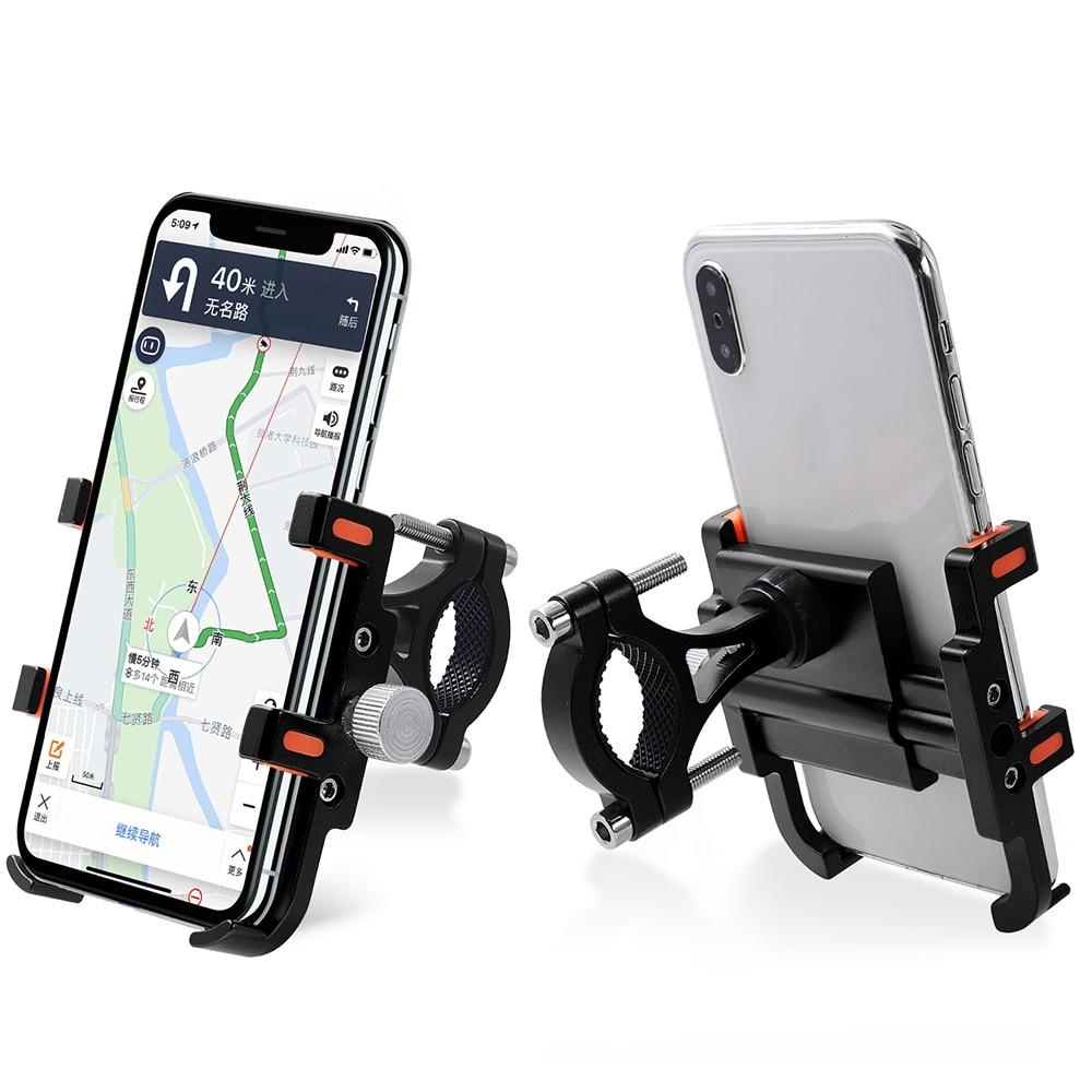 Motorcycle Phone Holder 360 Degrees Adjustable Aluminum Alloy Bike Mobile Phone Stand Motorbike Universal Phone GPS Mount