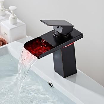 LED Faucet Brushed Gold Waterfall Faucet Brass Basin Faucet Bathroom Mixer Tap Deck Mounted Basin Sink Mixer Tap
