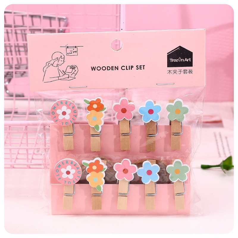 10 Pcs/Pack Colorful Flowers Wooden Clip Candy Color Small Flower Photo Clips Clothespin Craft Party Decoration Clip