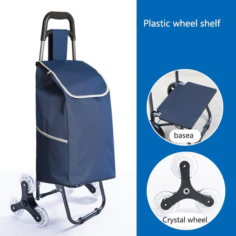 Поднимайтесь вверх, тележка для покупок, большие товары, товары, чехол на колесиках, складная тележка для прицепа, бытовая Портативная сумка для покупок, женская сумка - Цвет: Crystal wheel 1