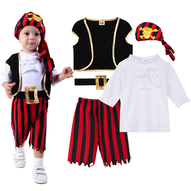 Baby Boys Pirate Costume Romper Infant Captain Cosplay Jumpsuit Newborn Carnival Outfit New Year Playsuit For Bebe Ropa Clothes