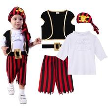 Bambino Ragazzi Pirata Del Costume Del Pagliaccetto Infantile Captain Cosplay Della Tuta Neonato Carnevale Vestito Nuovo Anno Salopette Corta Per Le Bebe Ropa Vestiti