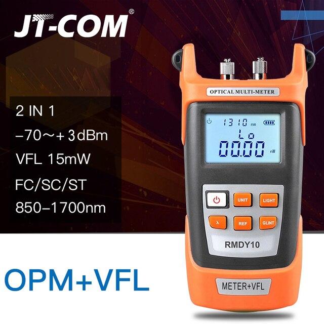 2 in1 Localizador visual de falhas ópticas do medidor de potência óptica Testador de cabo de fibra óptica  70 a + 3dBm 15mW com 15 km Localizador visual de falhas para testador de deterioração da luz da fibra