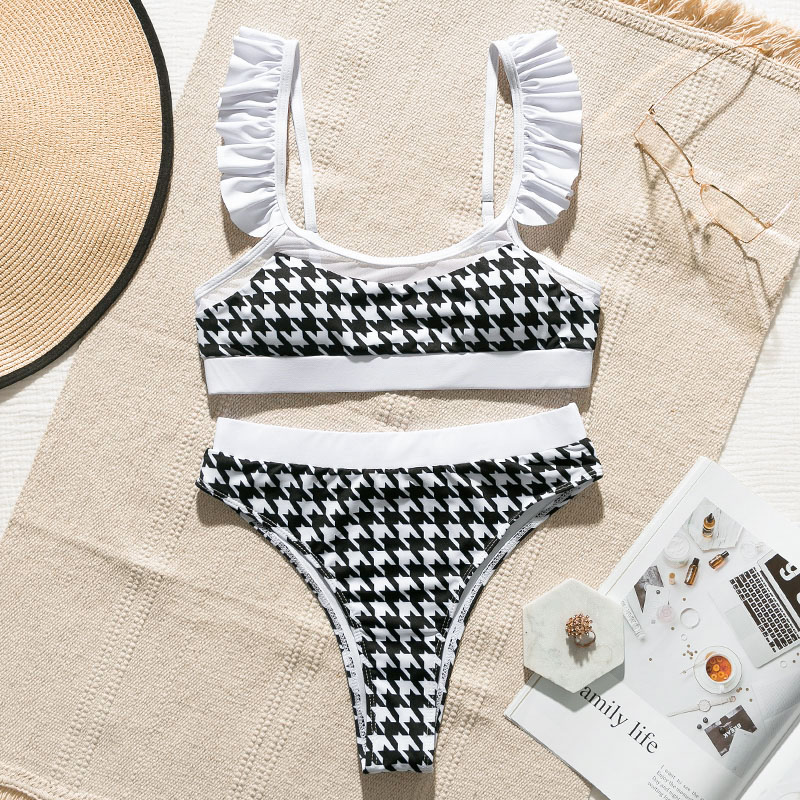 Peachtan High waist swimsuit female Plaid mesh bikini set 2020 Ruffle swimwear women Transparent bathing suit Vintage biquini 3