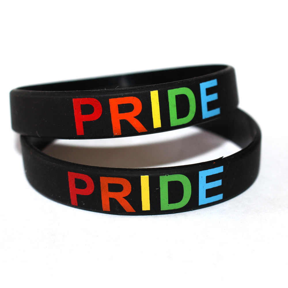 1Pc Fashion Gay Pride Armband Sieraden Charm Lgbt Rainbow Pride Polsband Silicone Rubber Armbanden Lesbische Bangle Armband