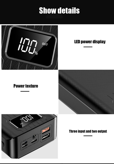 50000mAh Power Bank TypeC Micro USB QC Fast Charging Powerbank LED Display Portable External Battery Charger 4