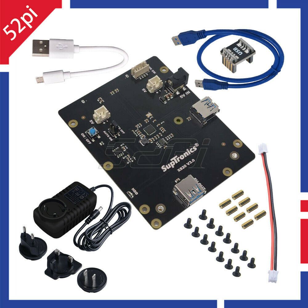 X820 V3.0 2.5 inch <font><b>SATA</b></font> HDD/SSD Storage Expansion Board with DC 5V 4A Power Adapter Plug for <font><b>Raspberry</b></font> <font><b>Pi</b></font> <font><b>3</b></font> B+ (Plus) /<font><b>3</b></font> B image