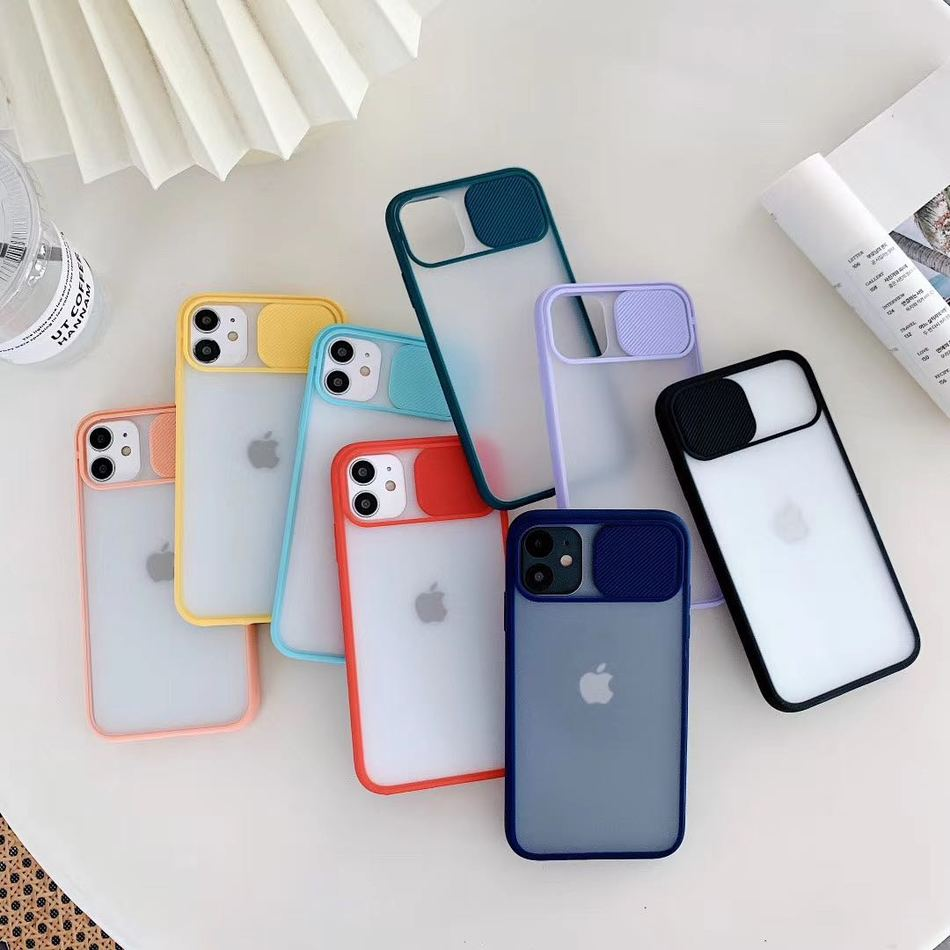 Slide Camera Lens Protection Case For iPhone 11 Pro XS Max Case SE 2020 Shockproof Matte Cover For iPhone XR 6S 7 8 Plus X SE 2