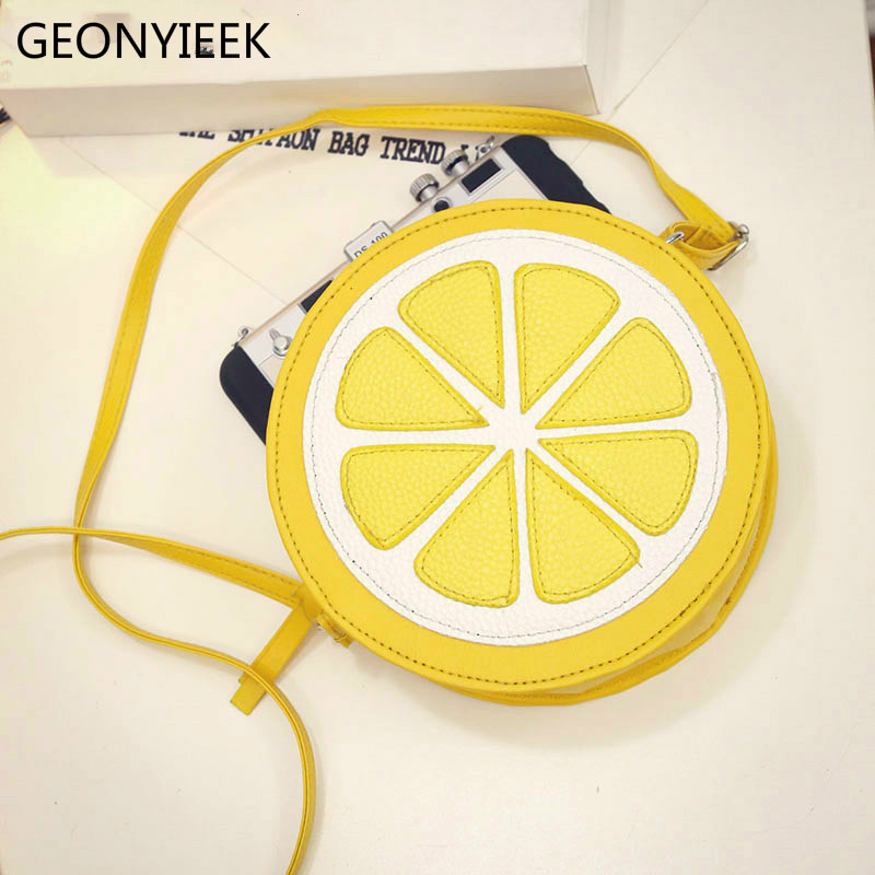 2020 Circular Orange Lemon Women Bag Zipper Messenger Bags Crossbody Waterproof Handbags Brand Designer Purse Lady Shoulder Bags