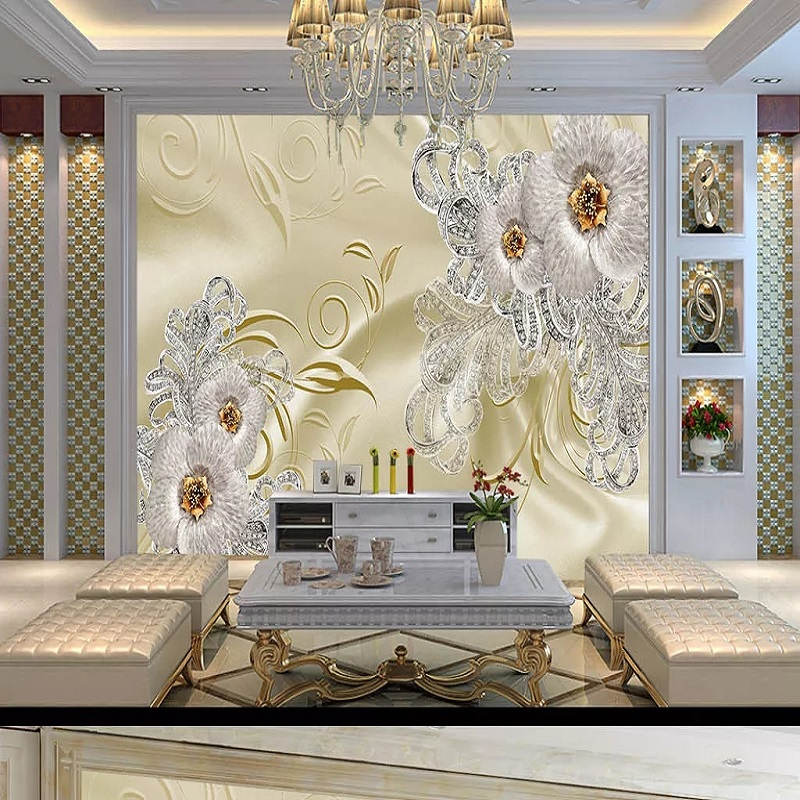 Custom Large Mural 3D Wallpaper Fashion Modern Luxury Creative Golden Jewelry Abstract Living Room TV Wall Decor 5D Embossed