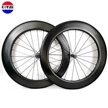 700C 80mm depth 25mm width Road carbon wheels Tubular/Clincher Dimple surface  carbon Aerodynamic wheelset 2 Year Warranty