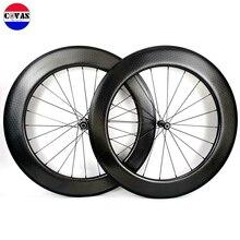 700C 80mm profondeur 25mm largeur route carbone roues tubulaires/pneu fossette surface carbone aérodynamique roues 2 ans de garantie