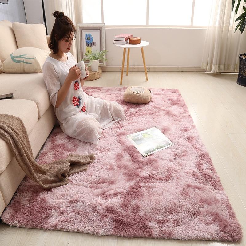Nordic Tie-dye Carpet Living Room Coffee Table Mat Net Red Bed Side Blanket Modern Simple Carpet Plush Thickening Rug