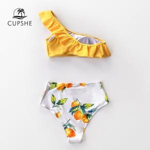 Image 2 - Cupshe 옐로우 레몬 프린트 원 숄더 하이 웨이스트 비키니 세트 섹시한 수영복 two pieces swimwear women 2019 beach bathing suits