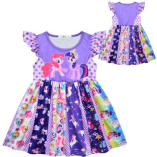 New Childrens Clothing Ruffled Sleeve Cartoon Print Princess Unicorn Girl Dress Knee Length