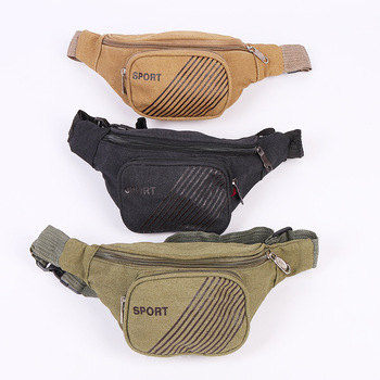 50PCS / LOT Men Canvas Waist Bag for Sport Casual Fashion Multifunction Two Layer Waist Pack Bum Bag Climbing Riding Chest Bags
