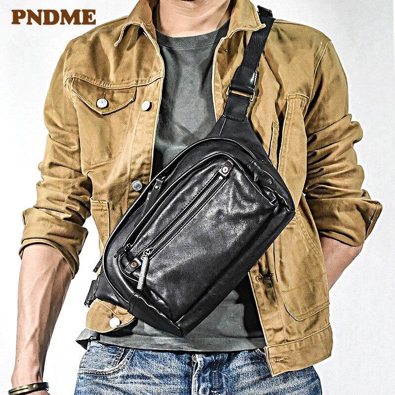 Fashion multifunctional genuine leather men chest bag trend high quality natural cowhide teens waist pack shoulder messenger bag