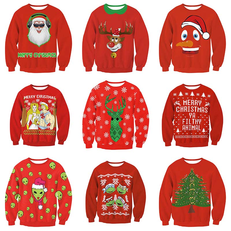 Unisex Men Women 2019 Ugly Christmas Sweater Vacation Gift Santa Elf Pullover Funny Female Male Sweaters Tops Red Xmas Sweaters