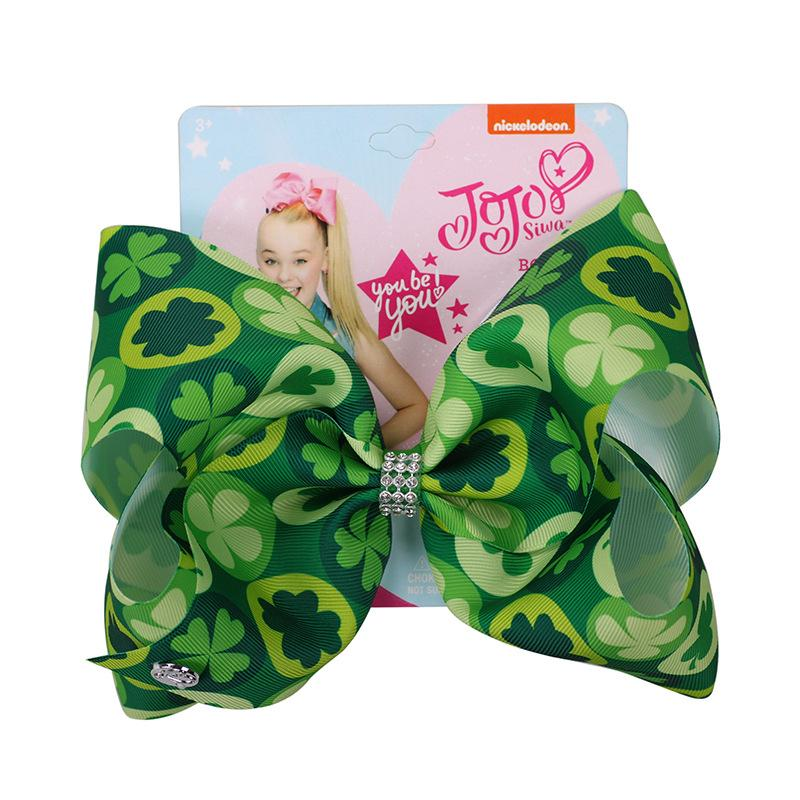 St. Patricks Day Hair Bow Hairpins for Saint Patrick Clover Printed Grosgrain 8INCH Girls Hairband Barrettes Accessories 12pcsHair Accessories   -