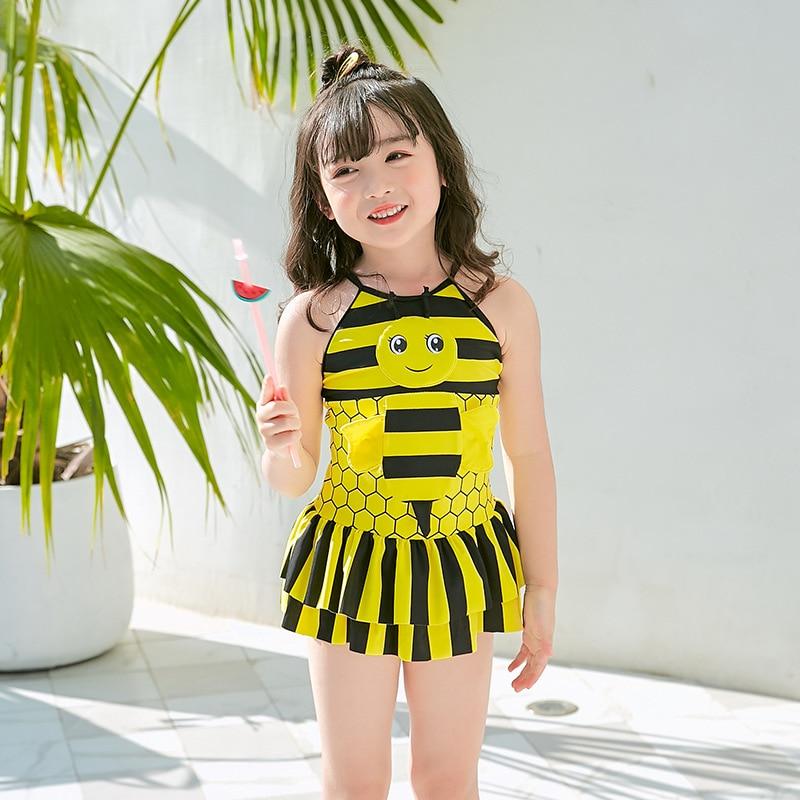 2019 New Style Hot Sales KID'S Swimwear Camisole Backless Dress-Cartoon Small Bee Adorkable Girls Swimwear