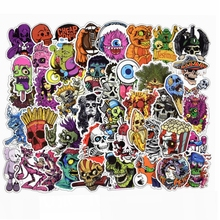 50PCS PVC Waterproof Mixed Horror Skull Stickers for Laptop Motorcycle Car Styling Luggage Phone Vinyl Decals DIY Terror Sticker