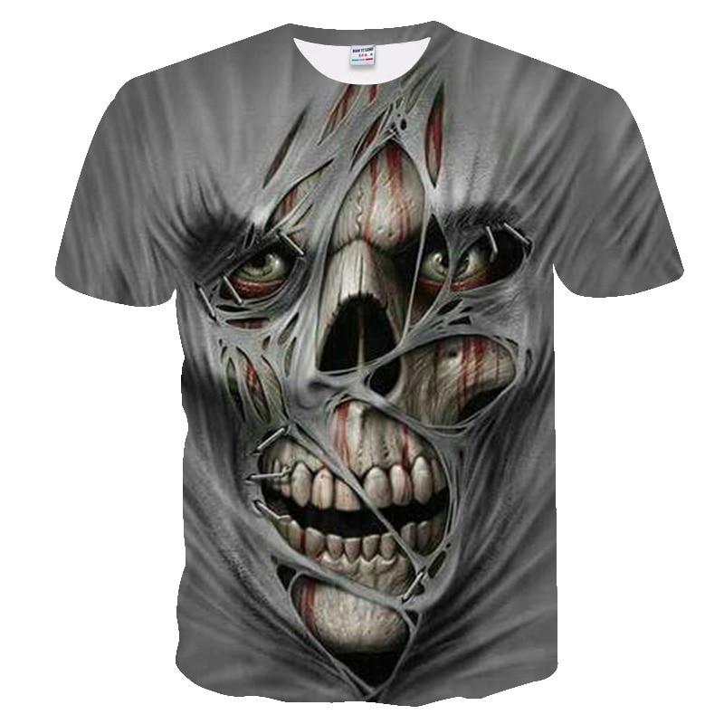 T camisa masculina 2019 mais novo crânio 3d impressão legal engraçado camiseta masculina de manga curta verão topos t camisa masculina