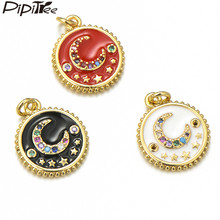 Pipitree Cubic Zirconia Moon Stars Charm fit Pendant Bracelet Copper Gold Color Red Enamel Round Charms DIY Jewelry Accessories(China)