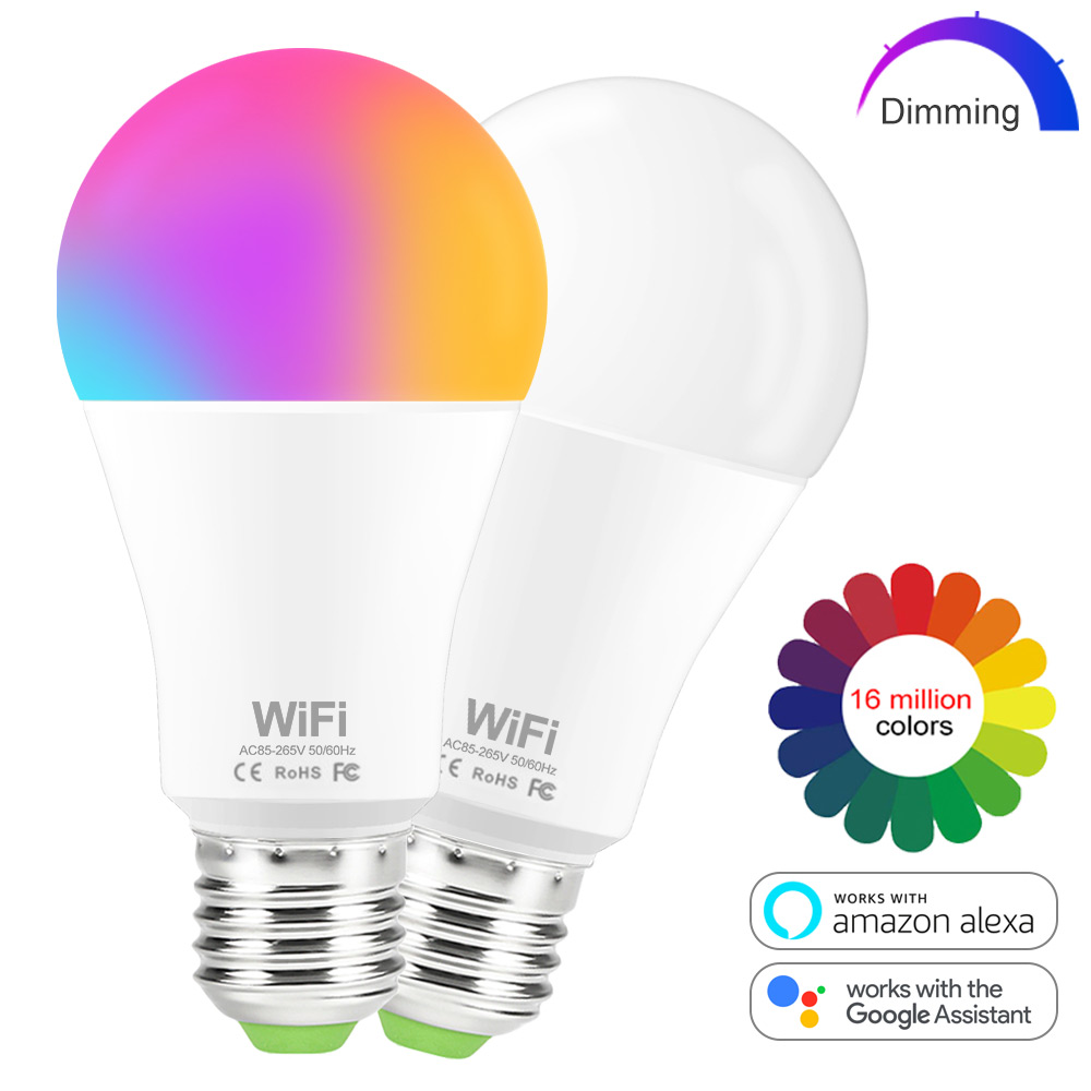 15W WIFI Smart  LED Dimmable Lamp 1 Color / 16 Mm Colors Changeable RGB Bulb  Voice Control APP By  Alexa Google Home Assistant