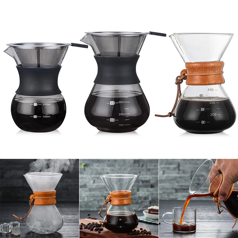 Nouvellement verser sur la cafetière avec verre Borosilicate manuel café goutteur brasseur MK