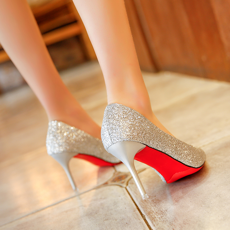 2019 Autumn New Fashion Sequins High Heels Korean Version Of The Wild Pointed Shallow Mouth Banquet Wedding Shoes