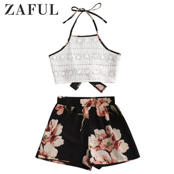 ZAFUL Elephant Floral Print Bikinis Set Women Swimsuit Sexy Lace Panel Halter Shorts Bathing Suit Beach Wear Bikini