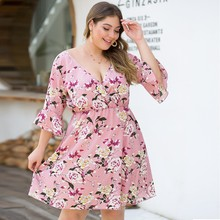 Plus Size 4xl High Elastic Waist Vintage Thick Autumn Dress A-line Style Women Long Sleeve Floral Dresses Slim Feminino#G30 недорого