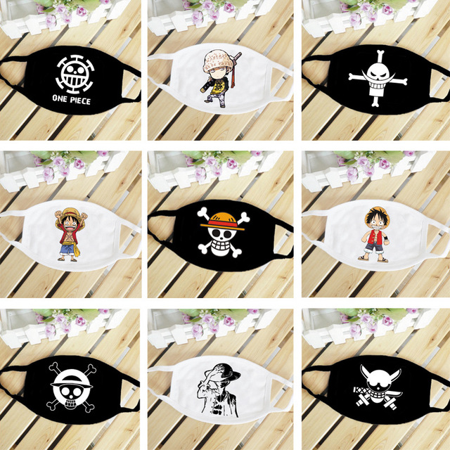 One Piece Skull Luffy Law Straw Hat Anime Mouth Face Mask Dustproof Breathable Women Men Cotton Riding Mask Fashion Accessories