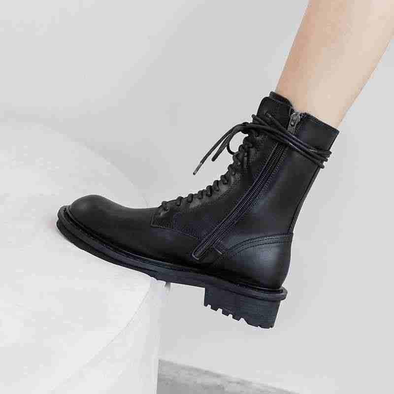 Krazing pot Internet popüler eğlence lace up inek deri çizmeler yuvarlak ayak med topuklar tutmak sıcak kadınlar yan zip orta buzağı çizmeler L89