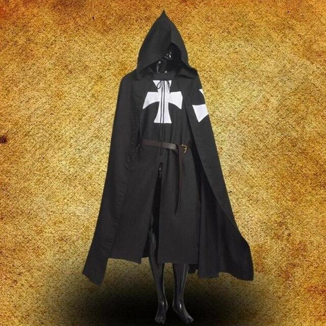 Médiéval hommes Empire romain croisés Robes guerrier soldat Cape Cape diable Vampire chrétien frère prêtre chevalier Cosplay Costume