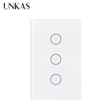 UNKAS Wifi inteligente pared Interruptor táctil Tuya vida inteligente de Panel de vidrio Móvil APP Control remoto trabajar con Alexa de Amazon, Google A casa