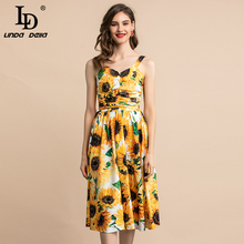 LD LINDA DELLA Fashion Summer Dress Plus size Women's Yellow Sunflower Floral Print Casual Holiday Party Midi Elegant Dress ld linda della runway maxi dress women s flare sleeve belt casual bohemian party holiday lemon floral print long dress